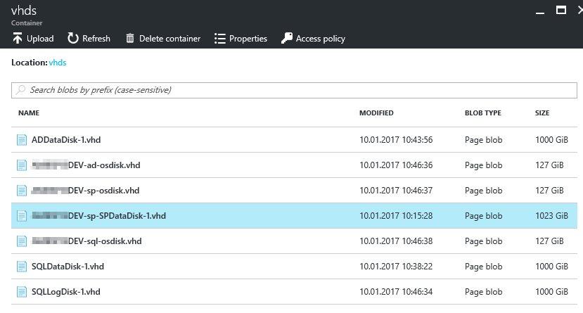 Azure VHDS blob storage